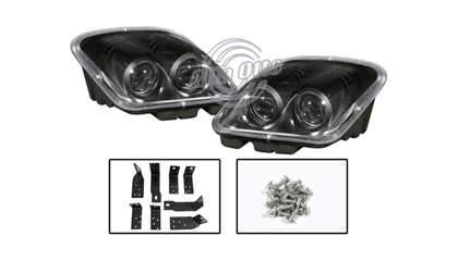 97-04 Chevrolet Corvette Alfa Otto Head Lights - Twin Beam Projector (Black Housing)