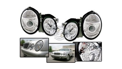 98-02 Mercedes CLK Alfa Otto Head Lights - Ellipsoid Projector (Chrome Housing)