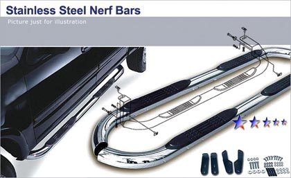 04-08 Econoline 350 Superduty  APS Black Coated Carbon Steel Nerf Bars