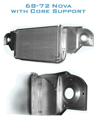 "68-72 Nova  AutoRad 1.5"" Core Support With Dual Fans And Shroud"