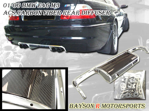 01-06 BMW M3 E46 Bayson R ACS Body Kit - Rear Diffuser (Carbon Fiber)