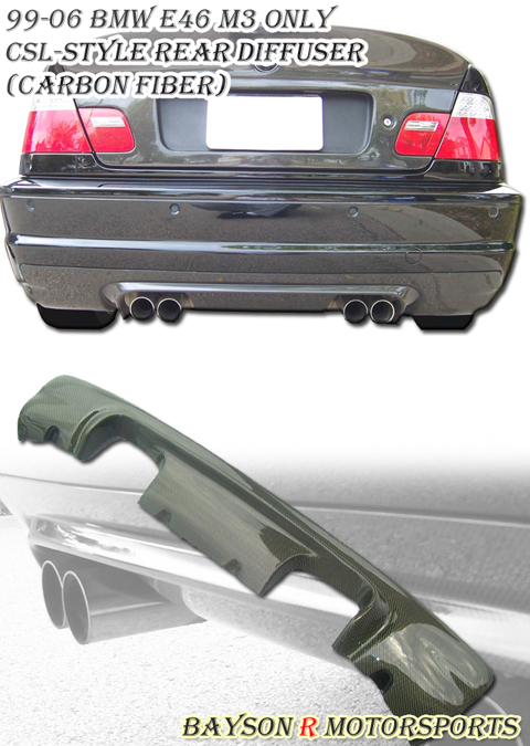 99-06 BMW E46 M3 Only Bayson R CSL Body Kit - Rear Diffuser (Carbon Fiber)