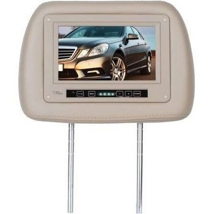 "1960-1964 Ford Galaxie Boss Universal Headrest With Pre-Installed 7"" Widescreen TFT Monitor (Tan)"