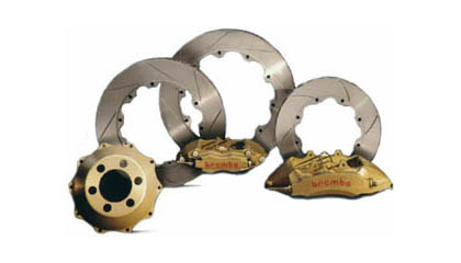 2004-2005 Subaru Impreza Brembo Brake Kits - Gran Turismo Series Drilled w/ Gold 4-Piston Calipers 326x30 (Front)