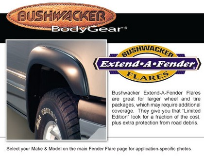 "92-96 Pickup Full Size F-Series Bushwacker Rear Extend-A-Fender� (1.75"" Tire Coverage)"