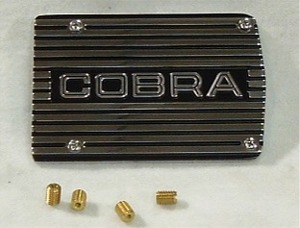 "1960-1980 Mustang California Pony Cars A/C Compressor Cover Plate (""Cobra"" Open Lettering)"