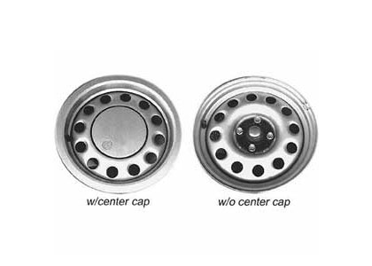 90-93 Volkswagen Cabriolet Convertible Capital Factory Wheel - 14x6, 12-hole, 4-lug, 100mm bolt pattern. Steel Wheel