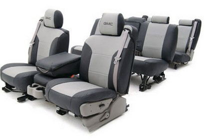 05-08 Uplander :(F), 50/50 bucket, w/adj. headrest, w/armrest, w/seat-mounted side airbag Coverking Custom Seat Covers (1 Row) Neoprene Blue / Black Sides