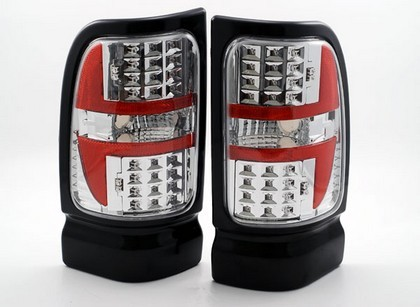 94-02 Dodge Ram Pickup Altezza  Dlab Tail Lights - Euro Chrome Style , W/ Led (-Us) Pair