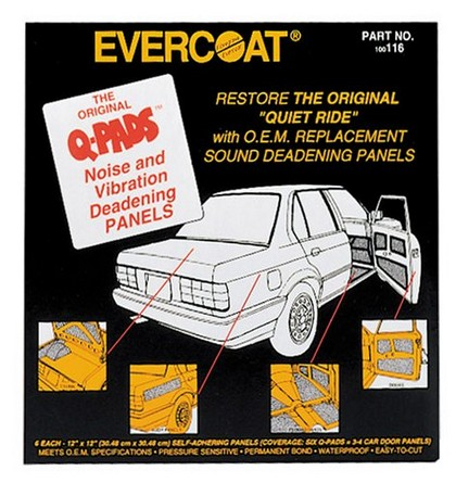 "Universal (All Vehicles) FIBREglass Evercoat Q-Pads Sound Deadener 12"" x 12"" 6/pk"