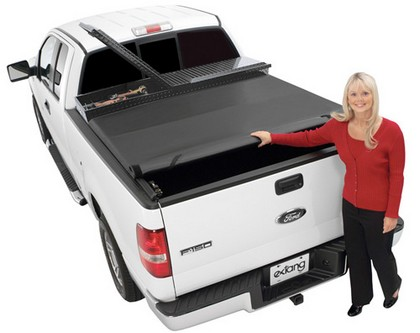 00-04 Dodge Dakota Quad Cab (5 ft 3 in bed)  Extang Express Soft Roll-Up Tonneau Cover with Tool Box