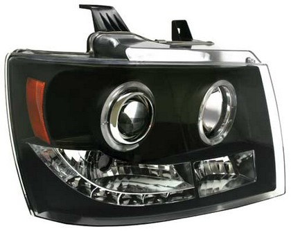 07-10 Chevrolet Suburban In Pro Car Wear Head Lamps, Projector W/ Rings - Black
