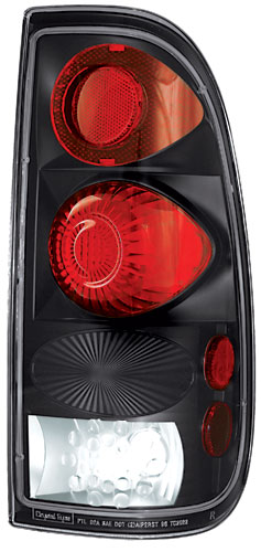 08-09 Ford F350 In Pro Car Wear Tail Lamps, Crystal Eyes - Set - Bermuda Black - Styleside