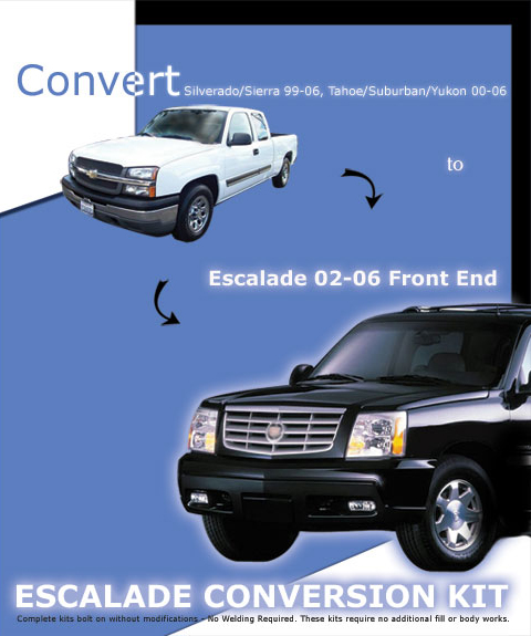 00-06 Chevrolet Suburban In Pro Car Wear 02-06 Escalade Conversion Body Kit - Front End Kit