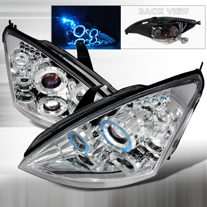 00-04 Ford Focus JY Halo Led Projector Headlights - Chrome