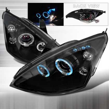 00-04 Ford Focus JY Halo Led Projector Headlights - Black