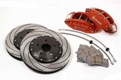 92-95 Escort Cosworth KSport Front Brake Kit - SuperComp 8 Piston - 15 Inch, Orange, Aluminum Calipers