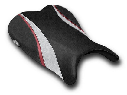 06-07 Suzuki GSXR 600 Luimoto Team Suzuki Seat Cover - Rider (Smooth Vinyl - Black / Silver / Dark Red / Black)