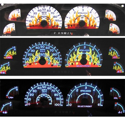 00-03 Ford F150 Expedition/Navigator NR Automobile Accessories Dancing Flame Glo Gauge Face