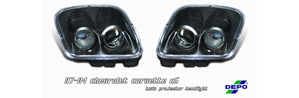 97-04 Corvette C5 Option Racing Headlights - Projector (Black)