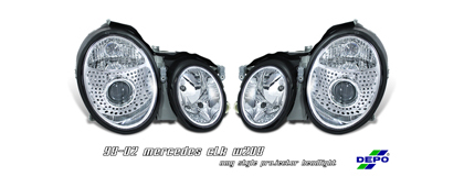 98-02 CLK W208 Option Racing Projector Headlights - Chrome