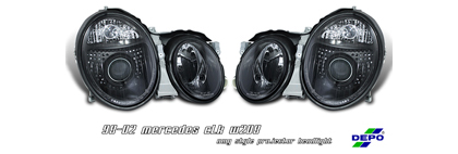 98-02 CLK W208 Option Racing Projector Headlights - Black