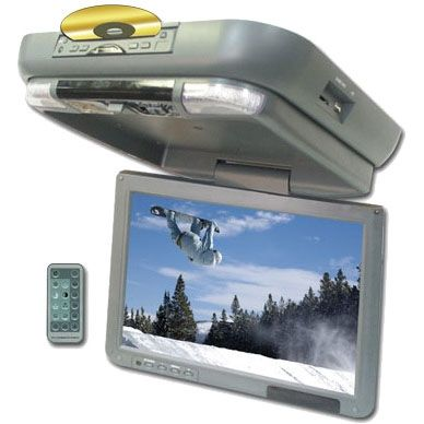 "All Cars (Universal) Performance Teknique 13.3"" TFT Flip-Down Monitor, Built-In DVD/CD Player and USB port /SD Card Slot (Grey)"