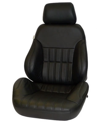 1962-1967 Chevrolet Nova Procar Racing Seat - Rally Series 1000, Black Vinyl, Smooth Back (Left)