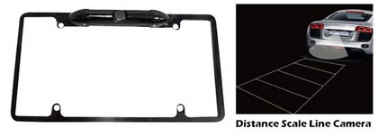 Pyle Low Lux Rear Camera Black Chrome Metal Lisence Plate Frame