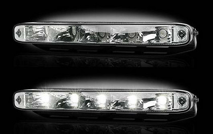 "1995-1997 Audi S6 Recon LED Daytime Running Lights w White LEDs & Rectangular Shaped Housing aka ""AUDI Style""  - CLEAR LENS"