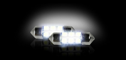 00-01 Audi A4 (With halogen capsule headlamps) ;; 00-01 Audi A4 (With HID (high intensity discharge) headlamps) ;; 00-01 Audi A4 Avant (With halogen capsule headlamps) ;; 00-01 Audi A4 Avant (With HID (high intensity discharge) headlamps) Recon 6418 10mm x 35mm  (6 L.E.D.s on each bulb) Festoon Style High-Power 1-Watt L.E.D. Bulbs - WHITE (Two Bulbs Per Package)