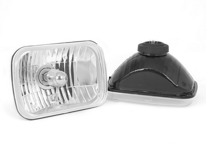 84-85 Ford Tempo Rugged Ridge Crystal H2 Headlights - Rectangular (Includes Bulbs)