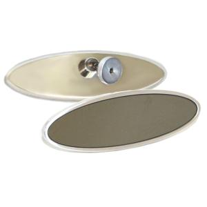"1974-1976 Mercury Cougar AllSales 6"" Oval Mirror - Plain Style Glue-On Bracket (Brushed)"