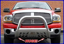 1999-2007 Ford F250 Aries Automotive Push Bar - Big Horn Bull 4-Inch Diameter Bar w/ Stainless Skid (Stainless Steel)