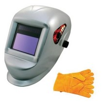 1965-1968 Mercury Colony_Park Astro Pneumatic Deluxe Solar Auto Darkening Welding Helmet With Large Viewing Area and Pair of Leather Gloves