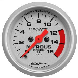2008-9999 Smart Fortwo Auto Meter Gauges - Ultra-Lite Series Electric Gauge (Nitrous Pressure: 0-1600 PSI)