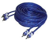 1966-1976 Jensen Interceptor Brand-X 30' Foot  Blue/ White Stereo RCA Cable