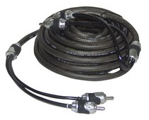 1974-1983 Mercedes 240D Brand-X 20' Foot Hi-End Black/Silver Stereo RCA Cable