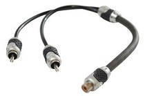 "2008-9999 Jeep Liberty Brand-X 1' Foot  Black/ Silver Dual Male to Single Female RCA ""Y"" Adaptor"