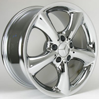 03-05 Mercedes Benz CLK3, 05 Mercedes Benz C-Class (C230, C3), 06 Mercedes Benz C-Class (C350) Capital Factory Wheel - 17x8-1/2, 5-spks, 5-lug, 112mm bolt pattern Chrome Finish (OEM Part # 209 401 0602) Rear Wheel