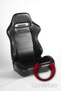 All Cars (Universal), All Jeeps (Universal), All Muscle Cars (Universal), All SUVs (Universal), All Trucks (Universal), All Vans (Universal) Cipher Racing Seats - Black PVC Vinyl