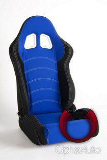 1998-2000 Nissan Frontier Cipher Racing Seats - Black Cloth with Blue Trim