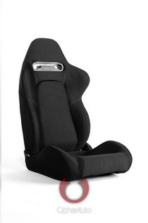 2004-2005 Honda Civic Cipher Racing Seats - Black Cloth with Outer Grey Stitching