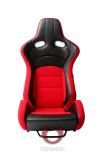 All Cars (Universal), All Jeeps (Universal), All Muscle Cars (Universal), All SUVs (Universal), All Trucks (Universal), All Vans (Universal) Cipher VP-8 Series Racing Seats - Black Red Cloth/Polyurethane Leather with Carbon Fiber Polyurethane
