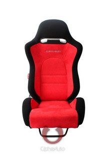 All Cars (Universal), All Jeeps (Universal), All Muscle Cars (Universal), All SUVs (Universal), All Trucks (Universal), All Vans (Universal) Cipher E-8 Series Racing Seats - Black Cloth with Red Suede Insert