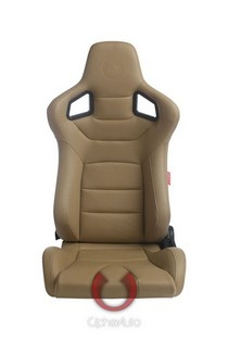 All Vehicles (Universal) Cipher Euro Series Racing Seats - Tan Leatherette Carbon Fiber with Brown Stitching