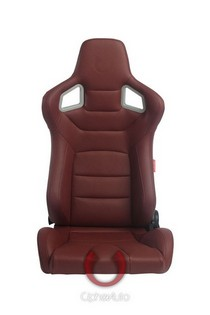 All Vehicles (Universal) Cipher Euro Series Racing Seats - Maroon Leatherette Carbon Fiber with Black Stitching