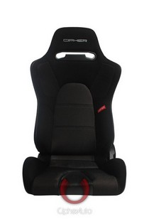 All Vehicles (Universal) Cipher E-9 Racing Seats - Black Fabric with Bronze Mesh and Carbon Fiber Insert
