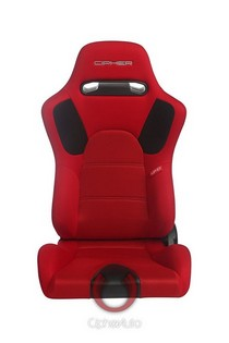 All Vehicles (Universal) Cipher E-9 Racing Seats - Red Fabric with Anti Slip and Carbon Fiber Insert