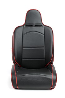 Universal Cipher Auto Reclineable Suspension/Jeep Seats, Black Leatherette/Carbon Fiber PU w/Red Piping